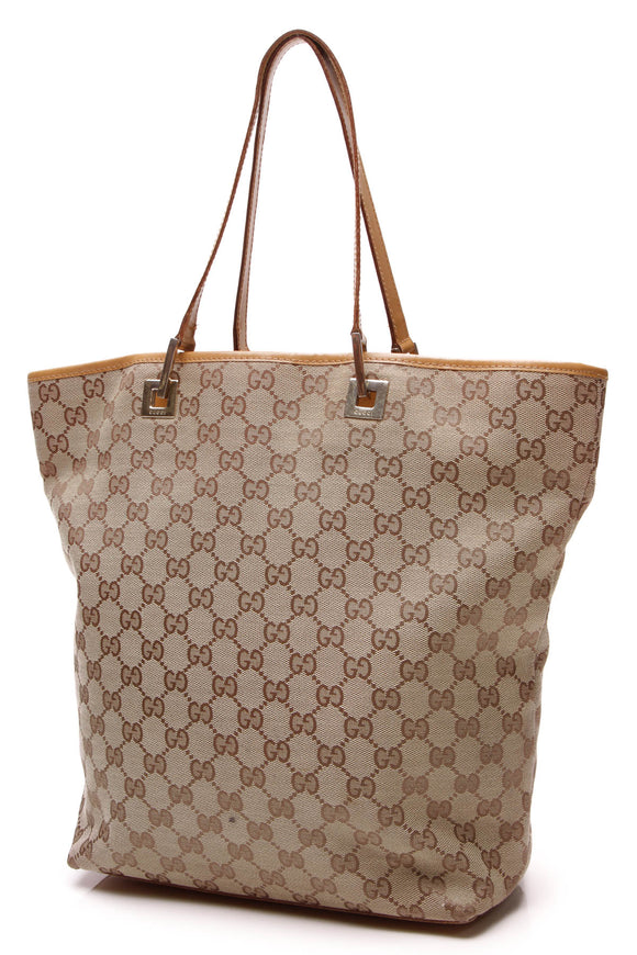 Gucci Bucket Small Tote Bag Signature Canvas Beige