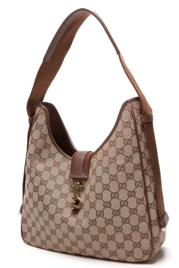 Gucci Hobo Shoulder Bag Signature Canvas Brown