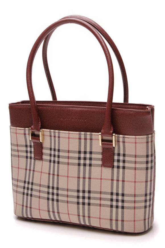 Burberry Vintage Small Tote Bag Nova Check Burgundy