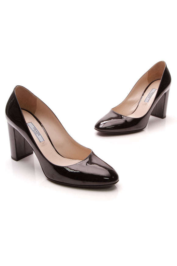 Prada Block Heel Pumps Black Patent Size 37.5
