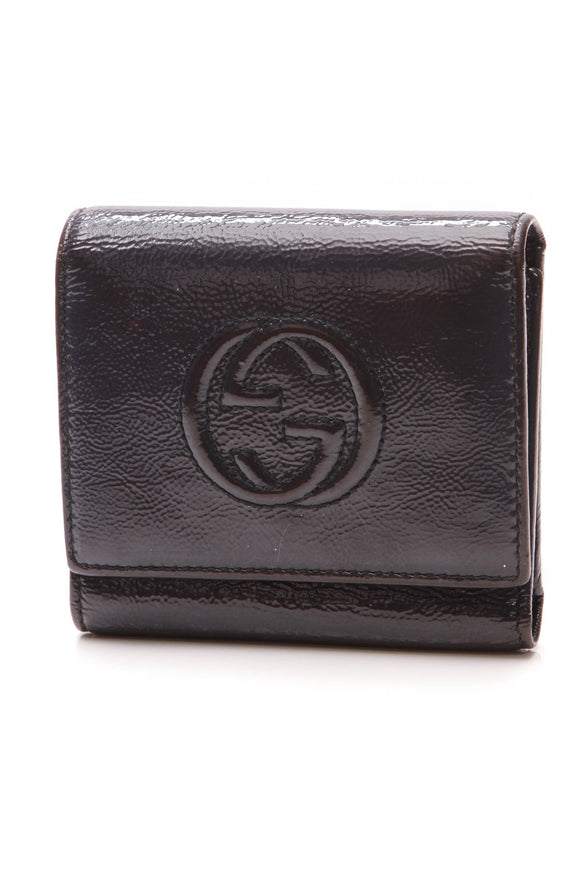 Gucci Soho Tri-Fold Wallet Navy Patent