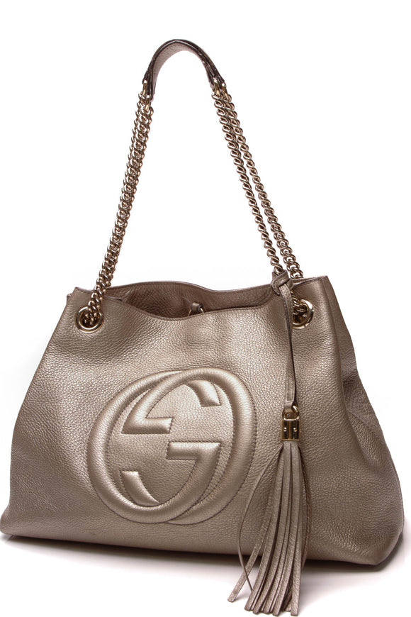 Gucci Soho Chain Tote Bag Metallic Golden Beige