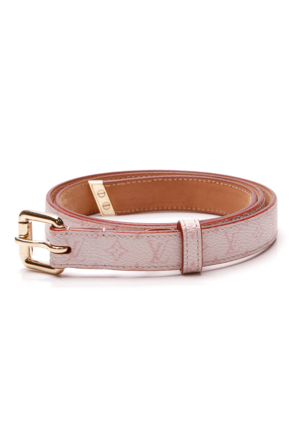 Louis Vuitton Skinny Belt Pink Monogram Size 32