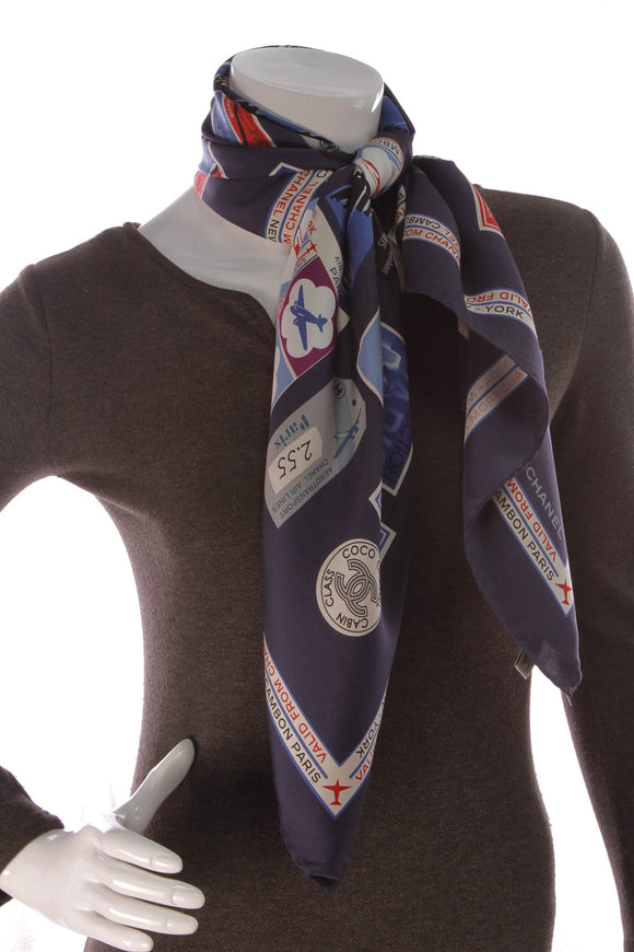 Chanel Airlines CC Silk Scarf Navy