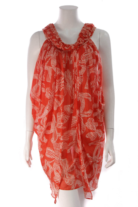 Chanel Scribble Print Swimsuit Cover-Up Dress Red Size 42