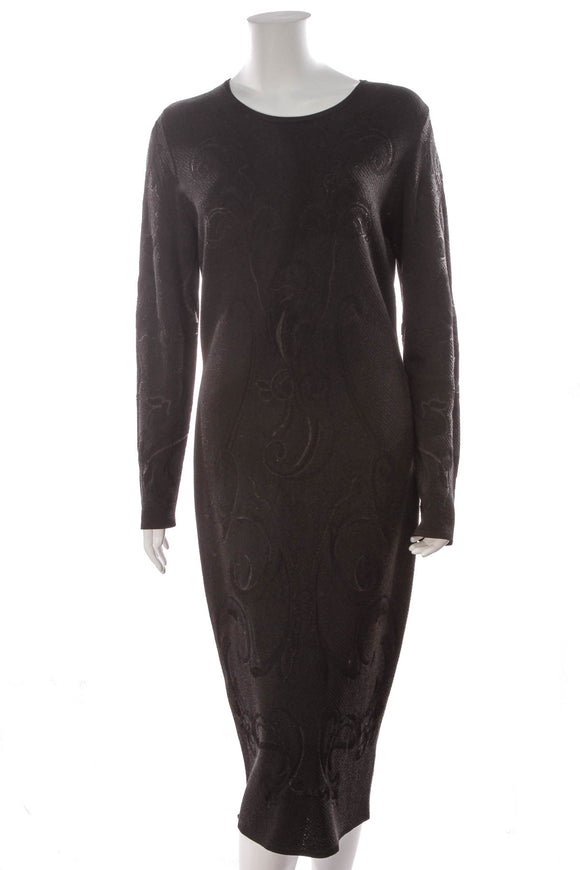 Escada Knit Bodycon Dress Black Size Large