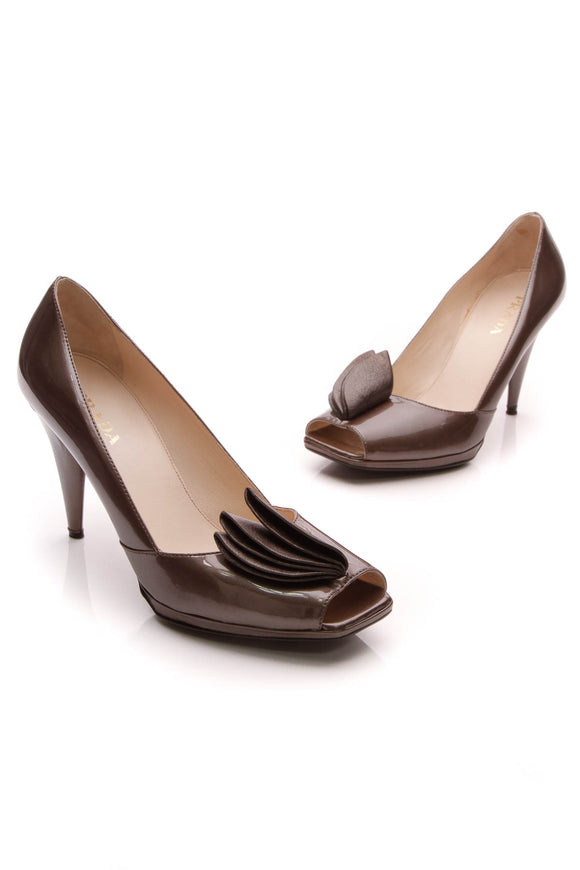 Prada Square Peep-Toe Pumps Bronze Patent Size 38.5