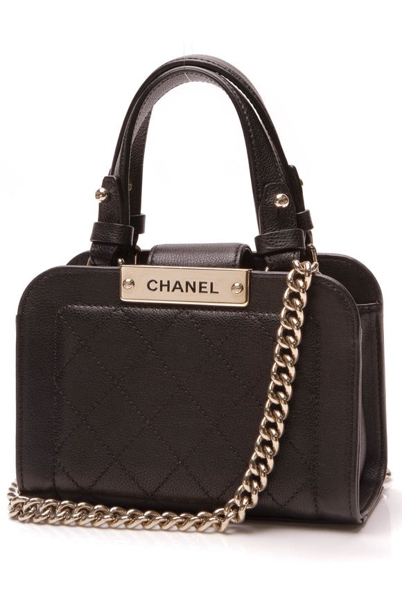 Chanel Label Click Small Shopping Tote Bag Black