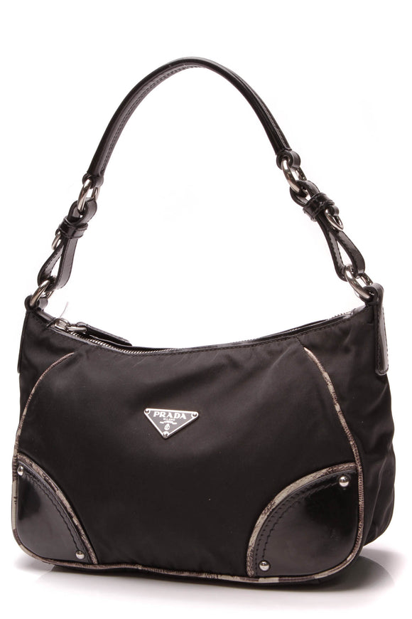 Prada Tessuto Small Shoulder Bag Black Nylon