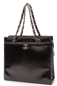 Chanel Vintage CC Chain Tote Bag Black Patent