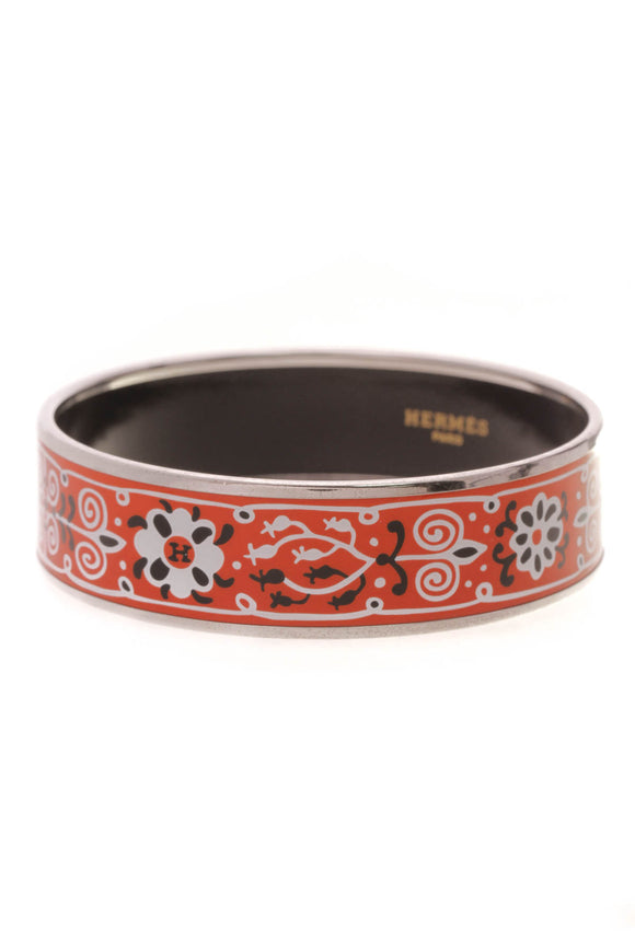 Hermes Fleur de Lis Wide Bangle Bracelet Red Silver