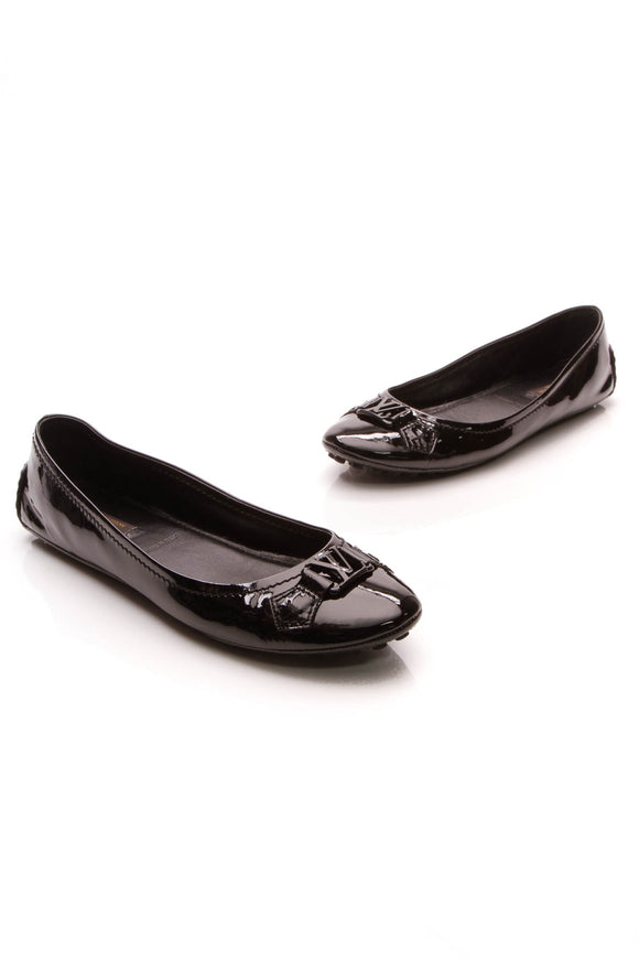 Louis Vuitton Oxford Ballerina Flats Black Patent Size 39.5