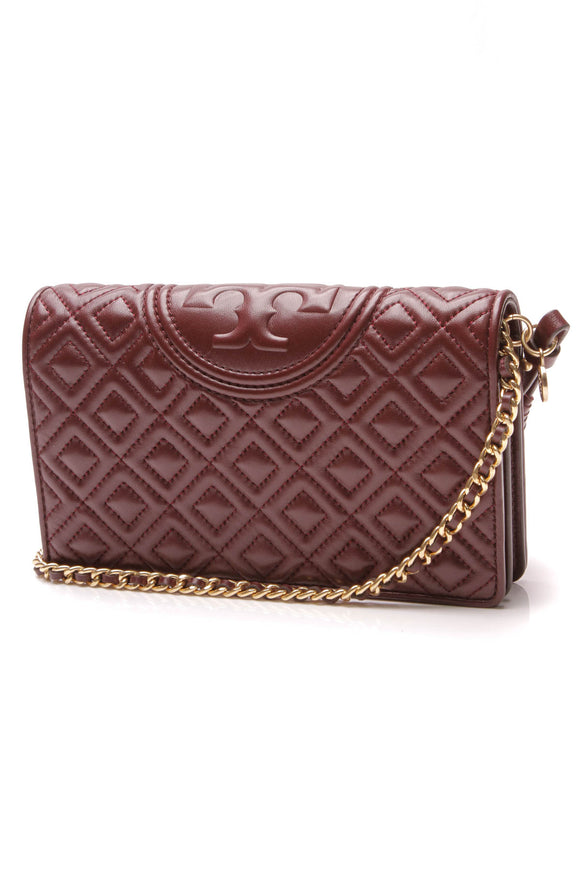 Tory Burch Fleming Wallet on a Chain Crossbody Bag Claret Red