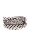 David Yurman Diamond Cable Band Ring Silver 7