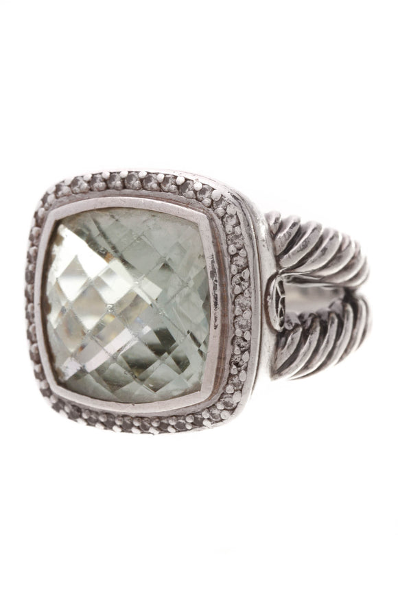 David Yurman 14mm Diamond Prasiolite Albion Ring Silver Size 7