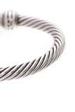 David Yurman 7mm Diamond Dome Cable Cuff Bracelet Silver White Gold