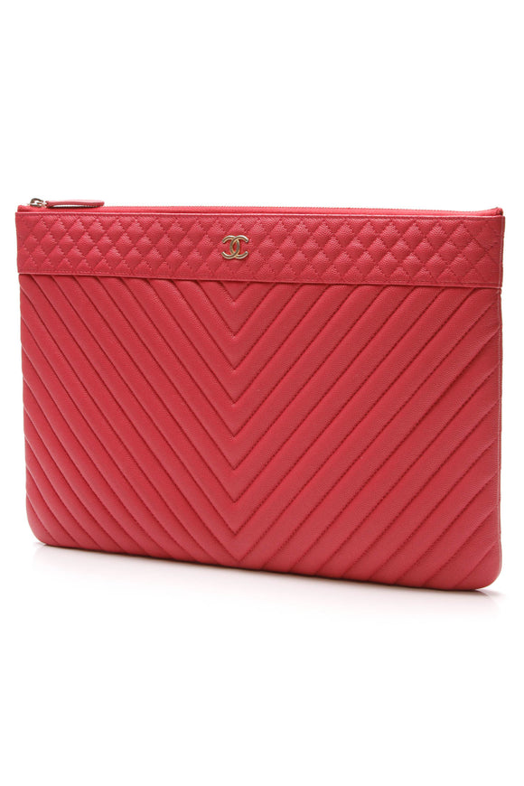 Chanel VIP Chevron O Case Clutch Bag Coral Pink Caviar