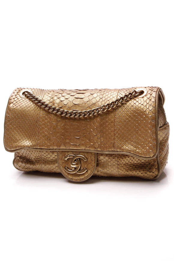 Chanel Python Shiva Flap Bag Metallic Gold