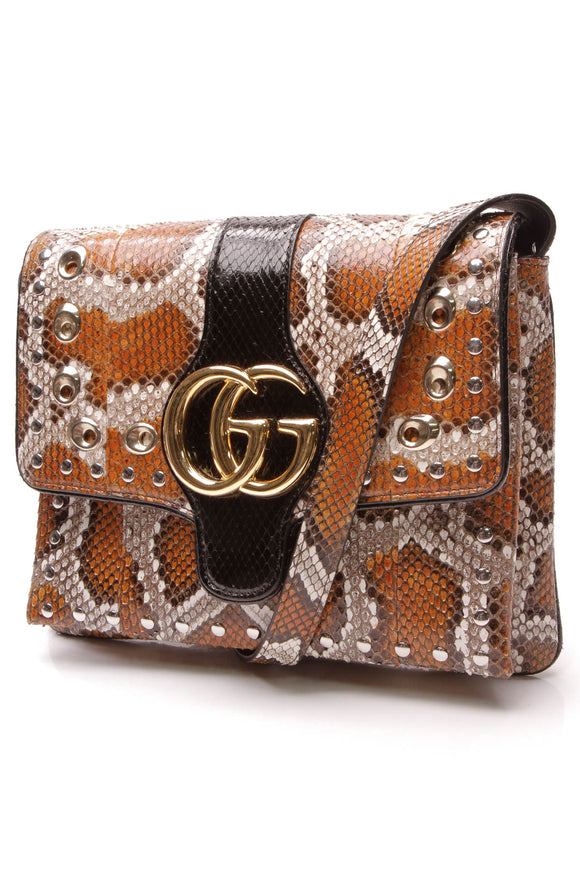 Gucci Arli Python Shoulder Bag Orange