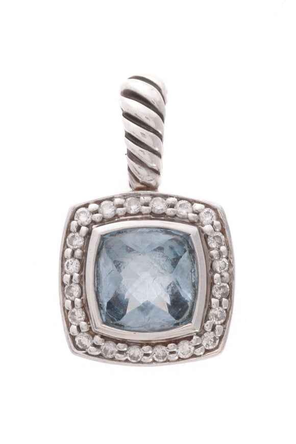 David Yurman Diamond Blue Topaz Petite Albion Pendant Silver