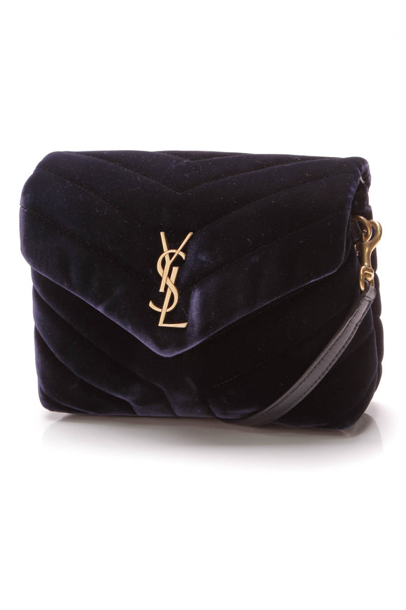 Yves Saint Laurent YSL Lou Lou Toy Bag Navy Velvet