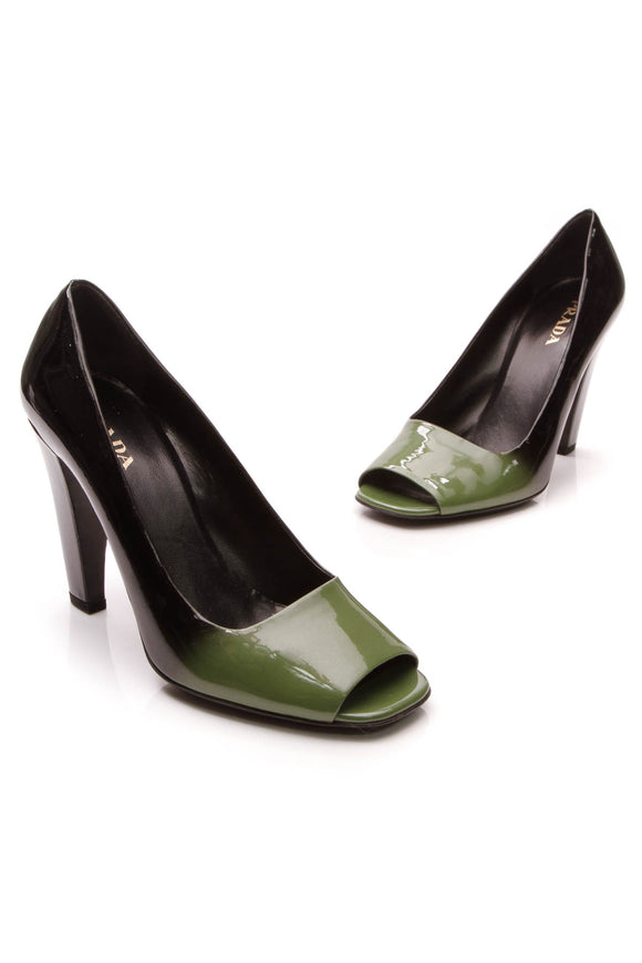 Prada Ombre Peep-Toe Pumps Black Green Size 39
