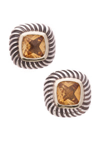 David Yurman Citrine Albion Cable Earrings Silver Gold