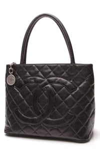 Chanel Medallion Tote Bag Black Caviar Leather