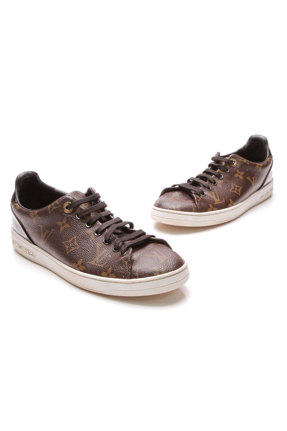 Louis Vuitton Frontrow Sneakers Reverse Monogram Size 38 Brown Tan