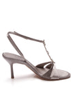 Chanel Lizard Crystal Star Heeled Sandals Silver Size 39