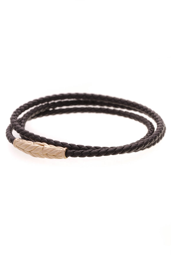 David Yurman Chevron Triple Wrap Bracelet Rose Gold Black