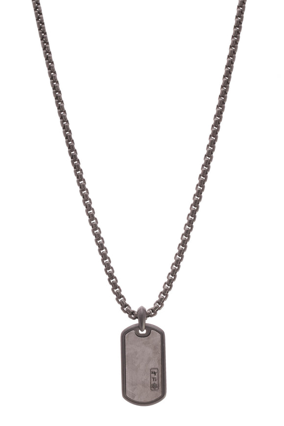 David Yurman Meteorite Tag Necklace Black Titanium