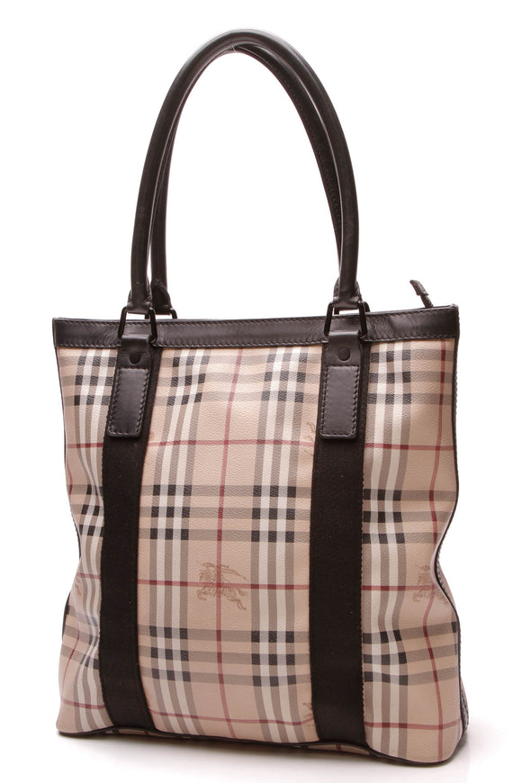 Burberry North South Tote Bag Haymarket Check Beige Black