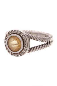 David Yurman Citrine Diamond Petite Cerise Ring Silver Size 9.25