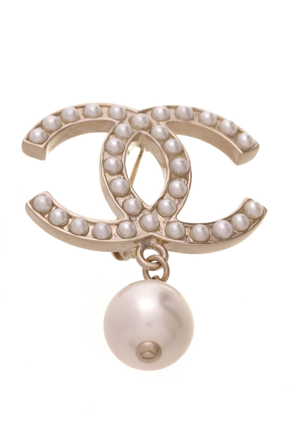 Chanel Pearl CC Drop Brooch Gold