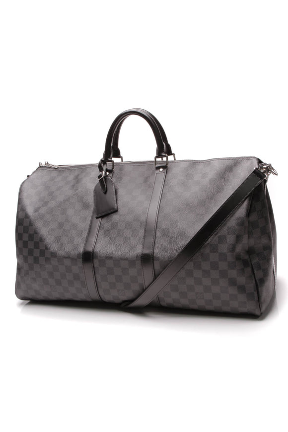 Louis Vuitton Keepall Bandouliere 55 Travel Bag Damier Graphite