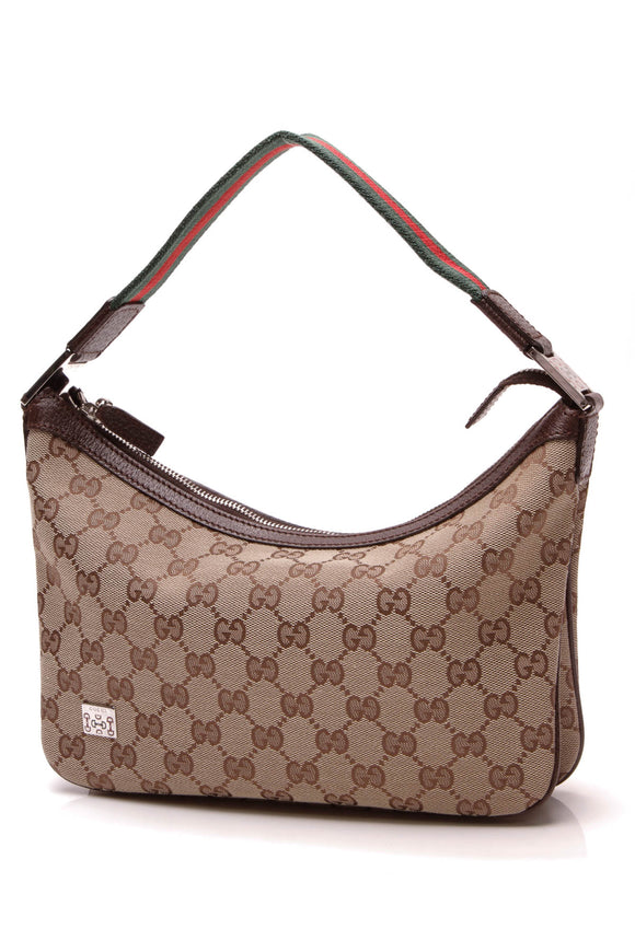 Gucci Web Pop Medium Hobo Bag Signature Canvas Brown