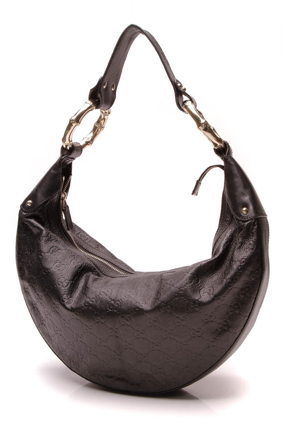 Gucci Bamboo Ring Hobo Bag Black Guccissima