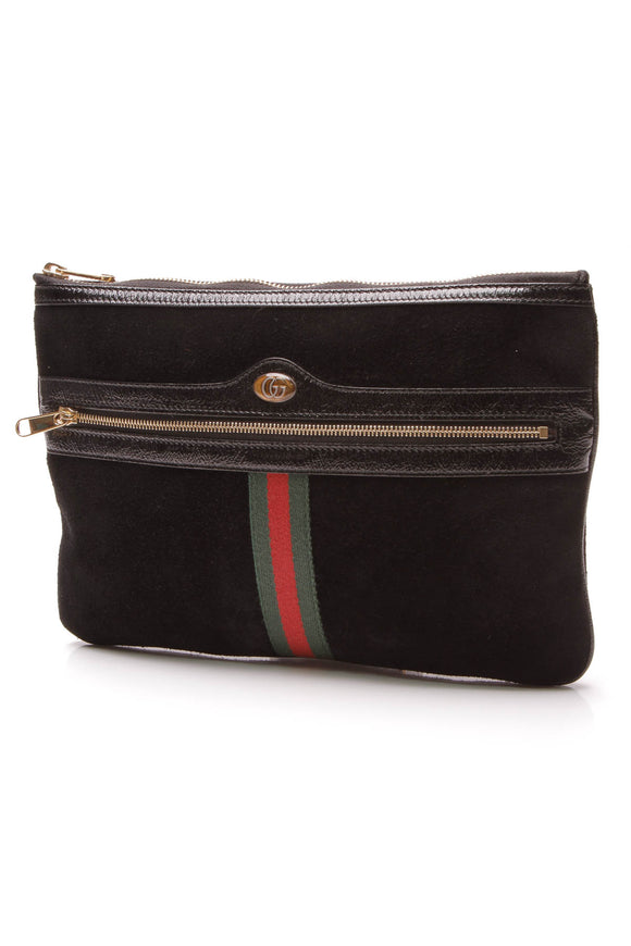 Gucci Ophidia Web Pouch Black Suede