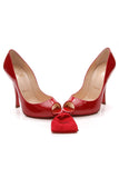 Christian Louboutin Maryl Peep-Toe Pumps Red Patent Size 36