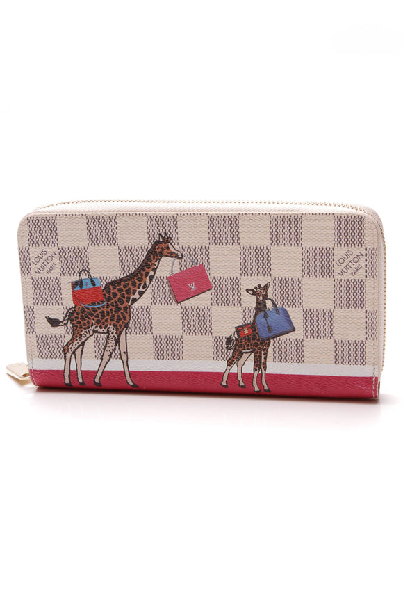 Louis Vuitton Giraffe Xmas Zippy Wallet Damier Azur