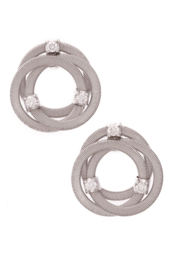 Marco Bicego Diamond Goa Coil Stud Earrings White Gold