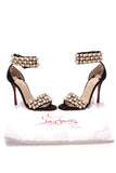 Christian Louboutin Tudor Ball Heeled Sandals Black Suede Size 37