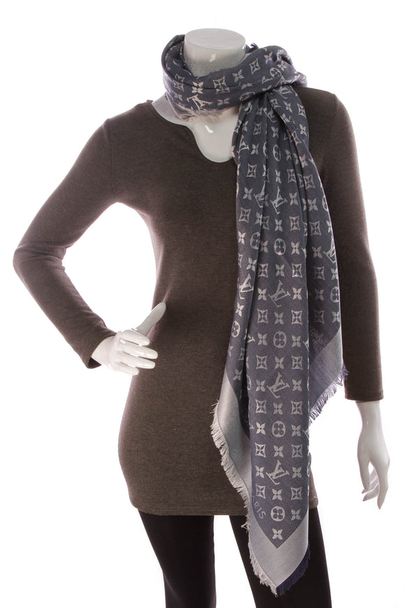 Louis Vuitton Monogram Denim Shawl Scarf Blue