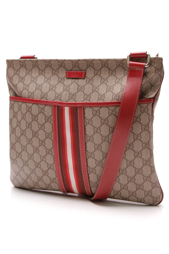 Gucci Web Messenger Crossbody Bag Supreme Canvas Red