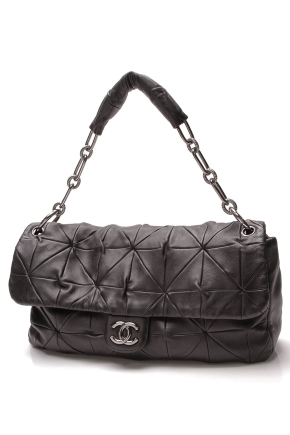 Chanel Quilted Origami Flap Bag Black