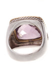 David Yurman 14mm Amethyst Albion Ring Silver Gold Size 7
