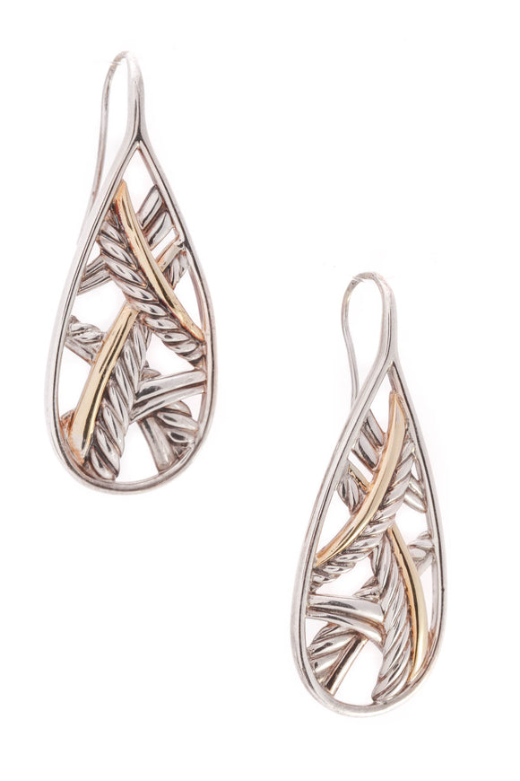 David Yurman Papyrus Drop Earrings Silver Gold