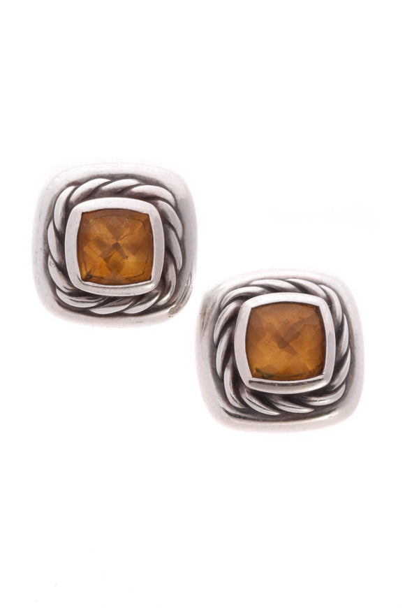 David Yurman 5mm Citrine Petite Albion Earrings Silver