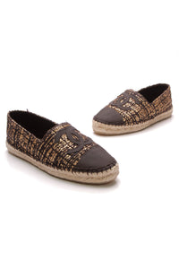 Chanel Tweed CC Espadrille Flats Black Gold Size 37